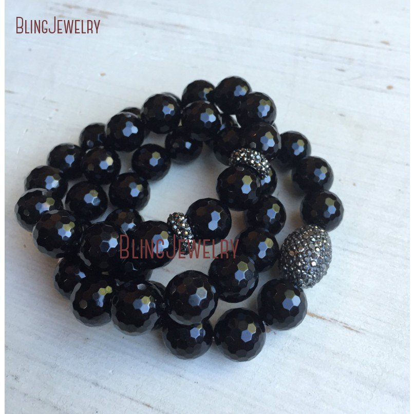 Ограненный черный оникс серого цвета со стразами Оз со стразами овальный браслет BM19973