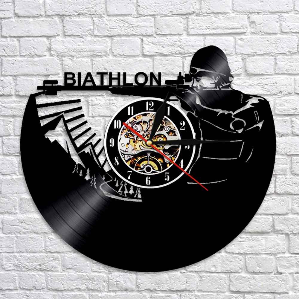 Biathlon Target Vinyl Wall Clock Modern Design LED Backlight Clocks Mute Classic CD Wall Watch 3D Decorative Hanging Home Decor