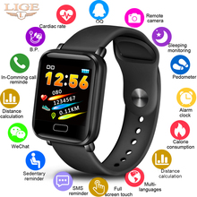 LIGE New Smart Bracelet Band Heart Rate Fitness Tracker Watch Blood Pressure Monitor Smart Wristband Pedometer For Android IOS