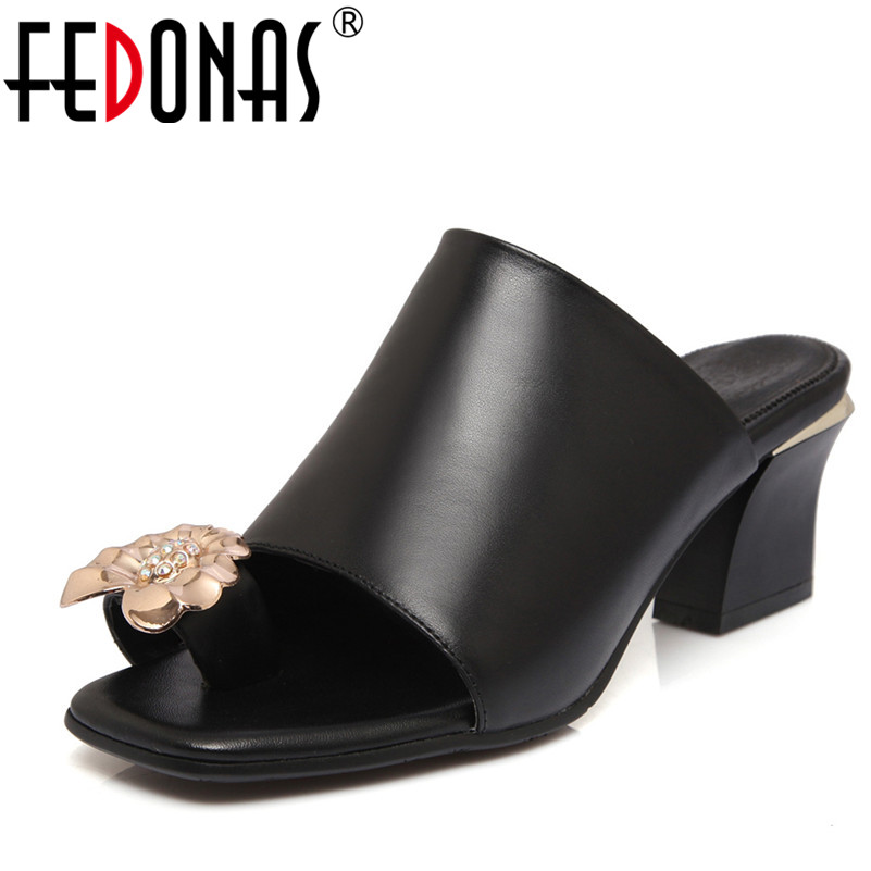 FEDONAS Fashion Peep-toe Genuine Leather Shoes Woman Sandals Thick High Heels Flip Flops Womens Summer Flowers Ladies Slippers lucyever women casual peep toe shoes thick platform creepers sandals woman fashion wedges high heels stars summer shoes