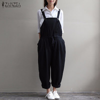 ZANZEA Rompers 2017 Summer Autumn Casual Loose Womens O Neck Sleeveless Vintage Jumpsuit Trousers Solid Overalls