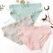 Roseheart Women Fashion Cotton Lace Trim Low Waist Sexy Panties Underwear Lingerie Briefs 3 Piece Color Underpants