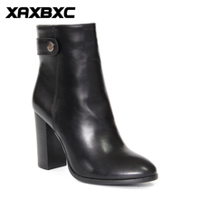 XAXBXC Retro British Style Leather Brogues Oxfords High Heel Short Boot Women Shoes Black Pointed Toe Handmade Casual Lady Shoes