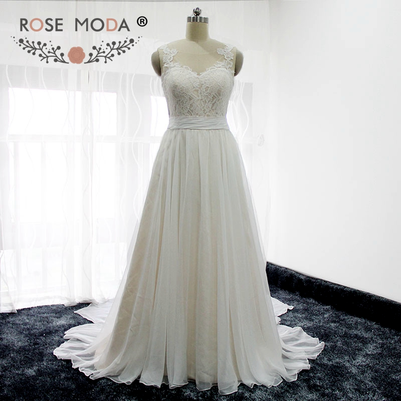 Rose moda ivory over champagne chiffon beach wedding dress for Ivory champagne wedding dress