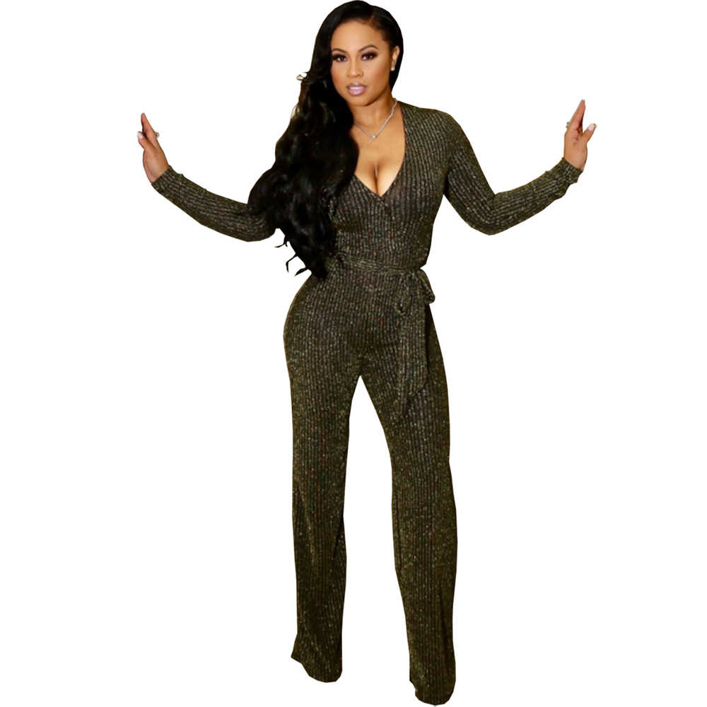 Silver Gold Sparkly Jumpsuit Women Long Sleeve V Neck Ribbed Bodycon  Jumpsuits Sexy Rompers Club Party 384be22b87db