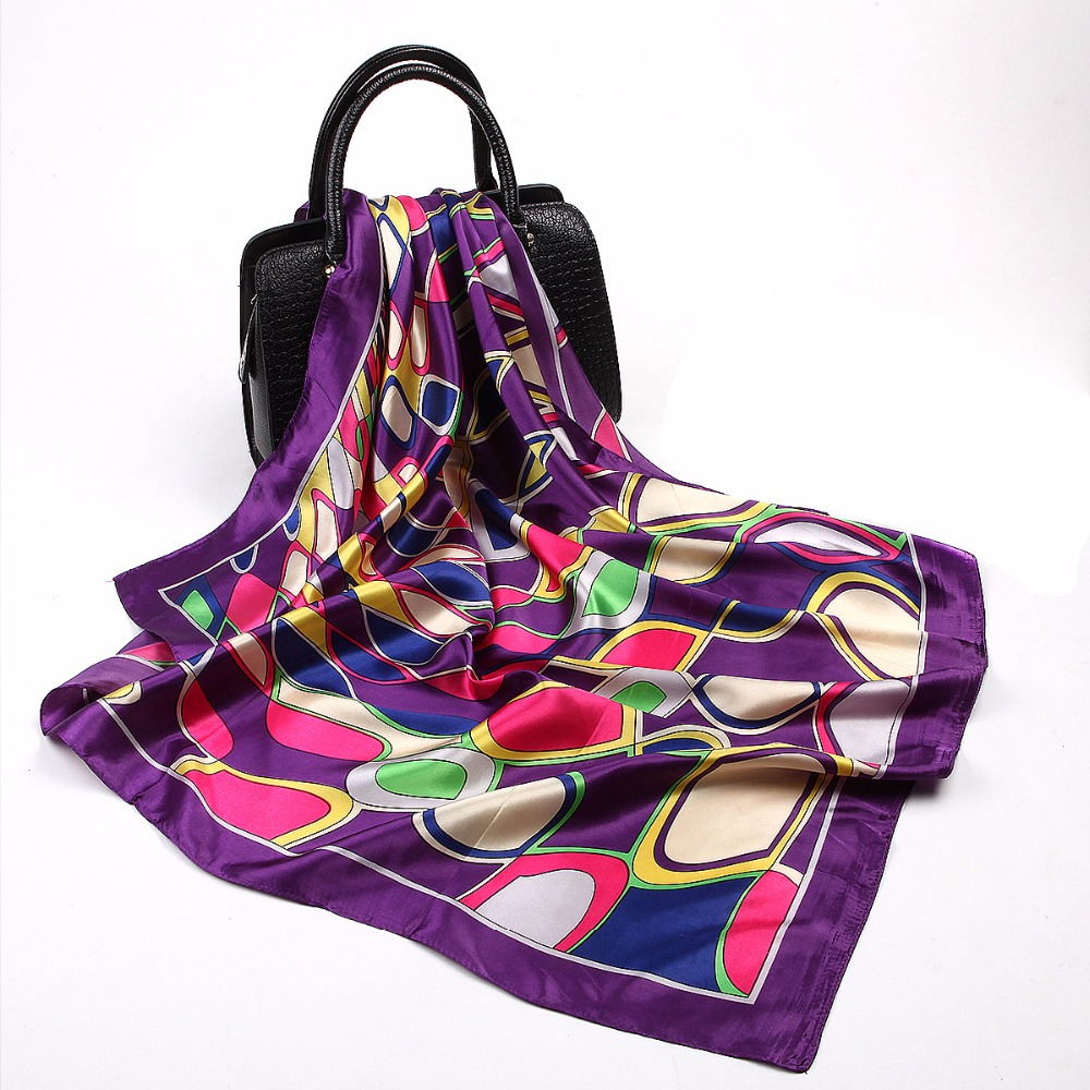 Fashion Red Hijab Square Scarf Women Water Ripple Printed Shawls Foulard Female Neck Bag Wraps Wholesale Head Scarves 90*90cm