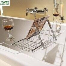 WBBOOMING держатель для ванной из нержавеющей стали лоток для Ванной Caddy расширяющиеся стороны стеллаж для чтения планшет телефон бокал для вина поднос для ванной комнаты