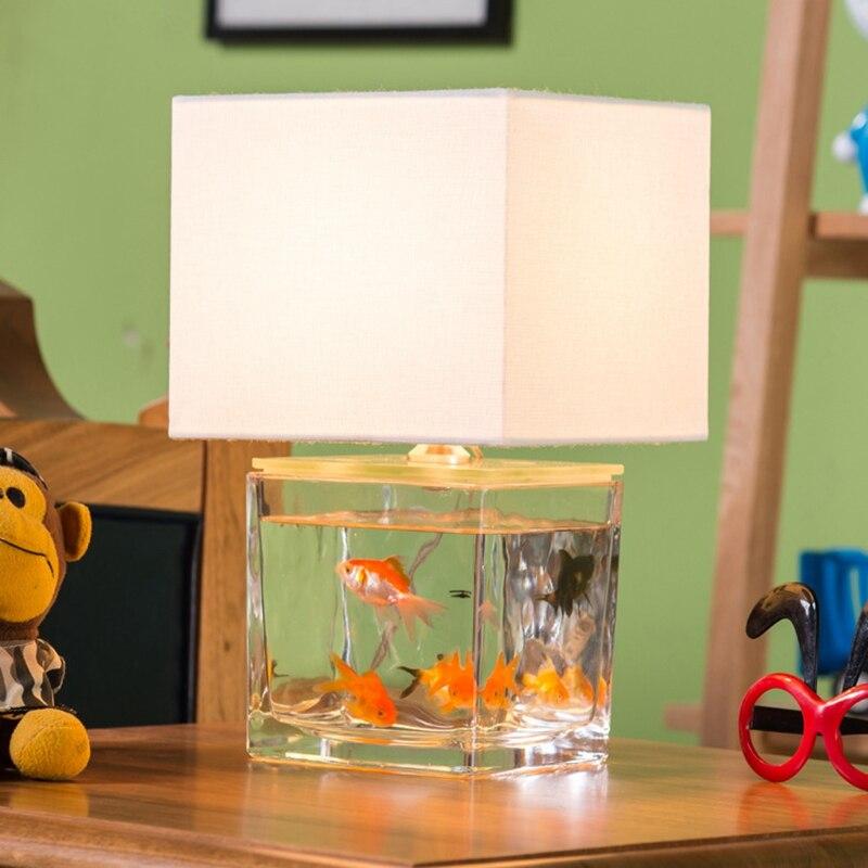 LukLoy personnalité caractéristiques Art verre aquarium lampe de Table carré Simple tissu salon chambre d'enfants lampe décorative