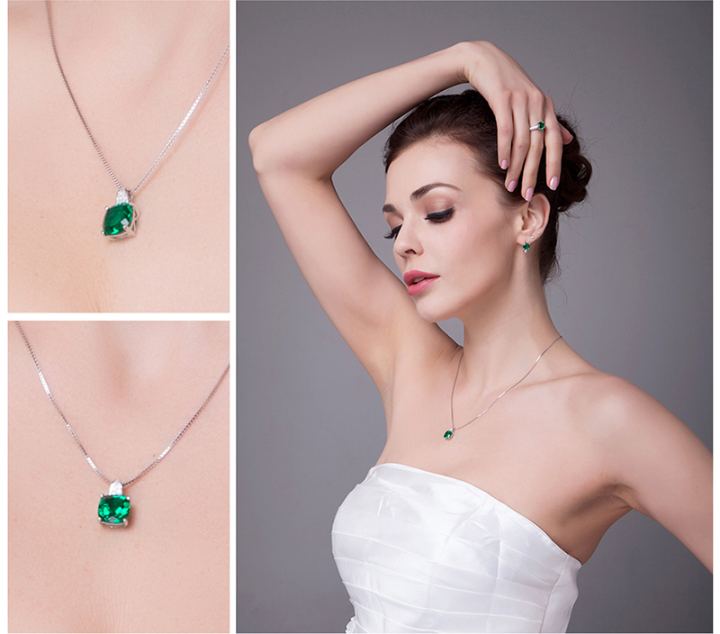 Jpalace 3ct Simulated Nano Emerald Pendant Necklace 925 Sterling Silver Gemstones Choker Statement Necklace Women Without Chain