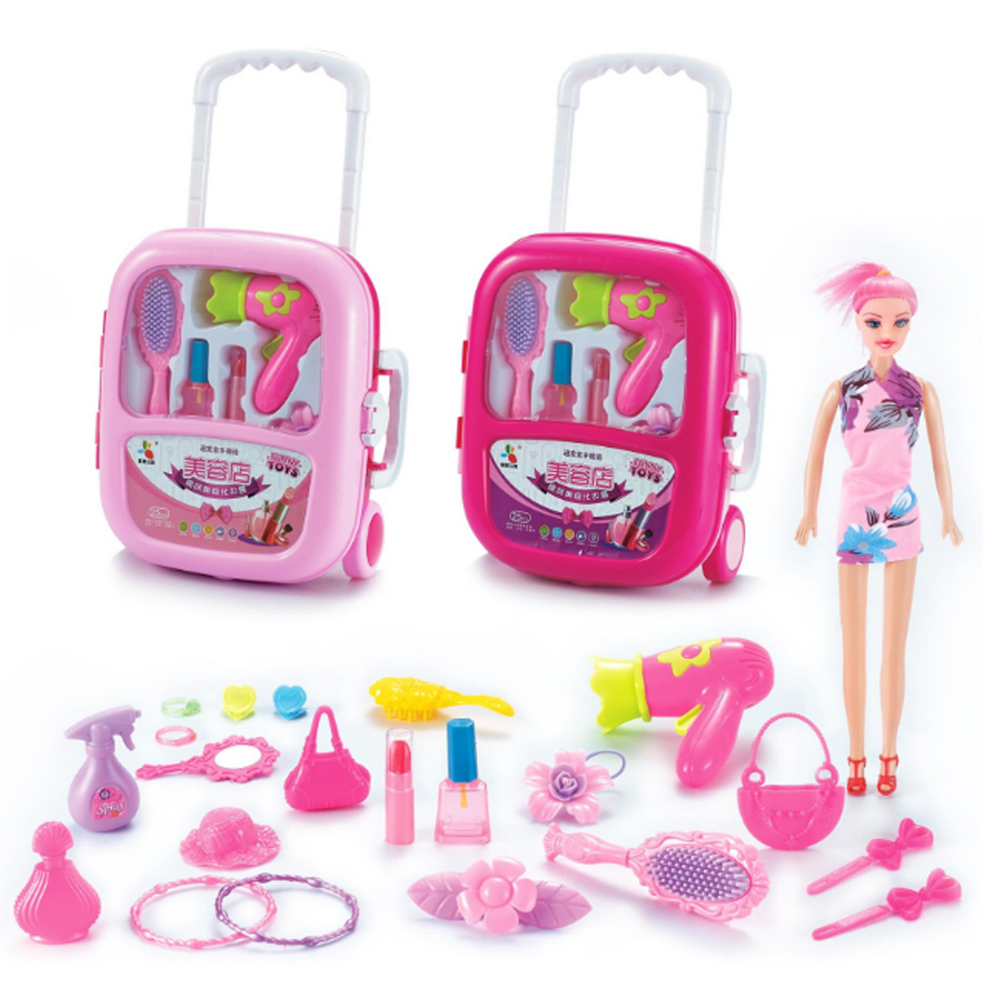 Cosmetics Kit Pretend Play Toys Makeup Set Kids Baby Girls Preschool Kid Beauty Fashion Toys Game Portable Trolley Case for Girl image