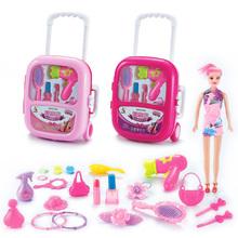 Zestaw kosmetyków udawaj zabawki zestaw do makijażu dzieci dziewczynki przedszkole Kid modna piękna zabawka gra przenośny wózek Case dla dziewczynki tanie tanio 8 ~ 13 Lat 14 Lat i up 5-7 lat 2459006 Chiny certyfikat (3C) Zawodów None