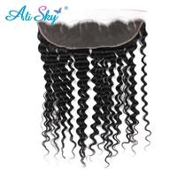 Ali Sky Brazilian nonremy Deep Wave 13x4 Ear to Ear Lace Frontal Human Hair Weave Bundles Free Part Closure Natural Hairline