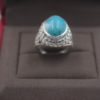 Pure S925 Silver &Turquoise Ring Retro Pattern Lace Woman's Ring US 5 9 Elegant Fashion New Ring