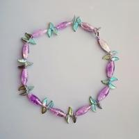 Lii Ji Natural Genuine Lavender Amethyst Crystal Leaves Toggle Clasp Necklace 56cm