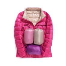 Double Side Women Winter Coat New Ultra Light White Duck Down Jacket Slim Puffer Portable D188