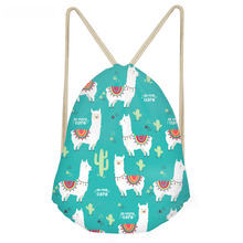 ThiKin Cute Animal Alpaca Cactus 3D Print Girls Drawstring Bags Funny Softback Storage Backpacks Children Storage Sack Bags