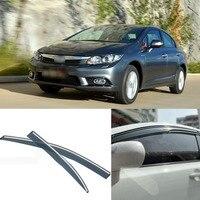 New 4pcs Blade Side Windows Deflectors Door Sun Visor Shield For Honda Civic 2012