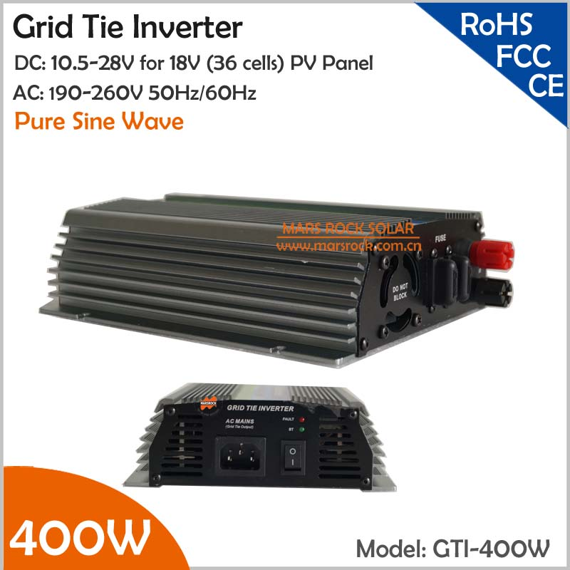 400W 18V Grid Tie Micro Inverter, 10.5-28V DC to AC 110V or 220V Pure Sine Wave Inverter Suitable for PV Module or Wind Turbine solar power on grid tie mini 300w inverter with mppt funciton dc 10 8 30v input to ac output no extra shipping fee