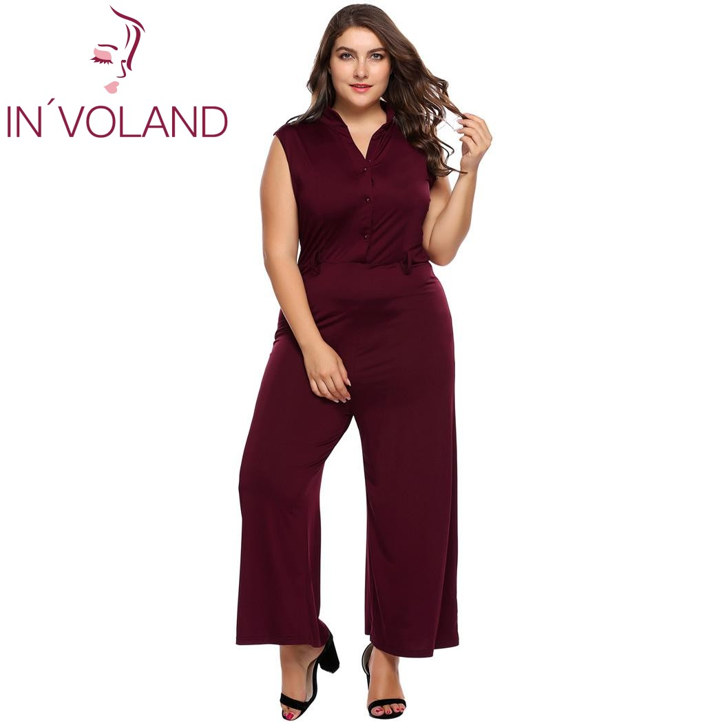 d782c71546 IN VOLAND Large Size Women Jumpsuit Rompers 4XL Sexy Plunge V Neck Wide Leg  Playsuits