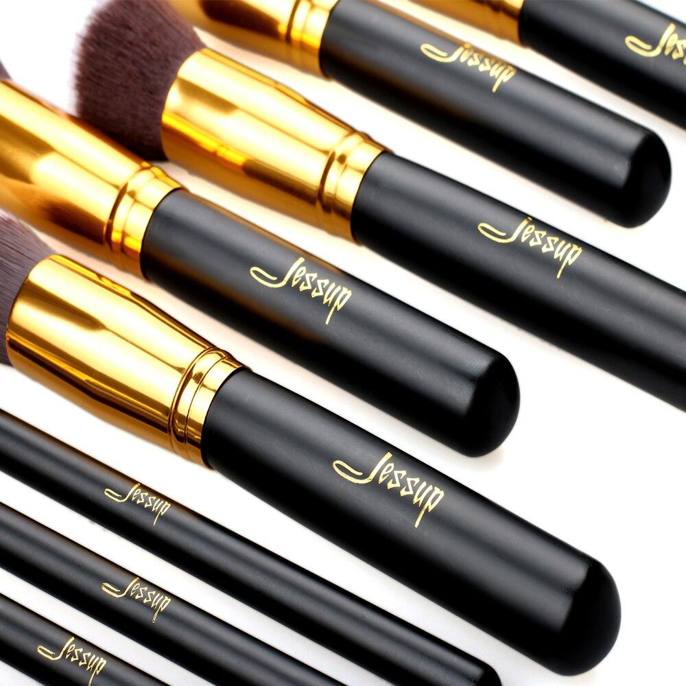 Image 2 - Jessup Brand 10pcs Black/Gold Makeup Brushes brushes Beauty Foundation Kabuki Cosmetics sets Makeup brush set blush Kit Tools-in Eye Shadow Applicator from Beauty & Health