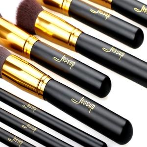 Image 2 - Jessup di Marca 10pcs Nero/Oro Spazzole di Trucco pennelli di Bellezza Prodotti di base Kabuki Cosmetici set di pennelli Trucco Trucco set blush Kit strumenti