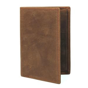 Image 5 - Crazy Horse Leather Bag Purse Retro Card Case Pack Long Passport Cover Business Men Cowhide Travel Passport Holder