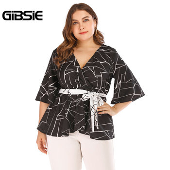 GIBSIE Plus Size Geometric Print Wrap V-Neck Blouse Shirt Women Half Sleeve Elegant Tops Summer Office Lady Belted Blouses