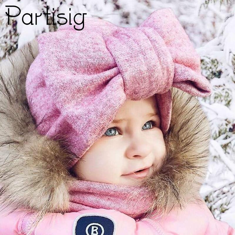 Baby Cap Katoen Grote Boog Hoed Voor Baby Meisjes 2 Layer Vlinder India Hoed Kids Caps Winter Kinderen Hoeden Snelle Kleur