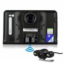 Otstrive 7 polegada Android Navegação GPS DVR gravador de Vídeo Detector de Radar Câmera de Visão Traseira 16 GB Dual Camera Quad-núcleo WiFi GPS