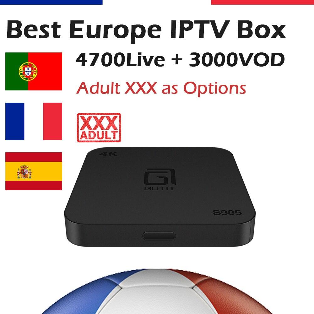 GOTiT French IPTV S905 Android 4K Smart TV Box 5000 KING OTT IPTV Arabic Spanish Portuguese