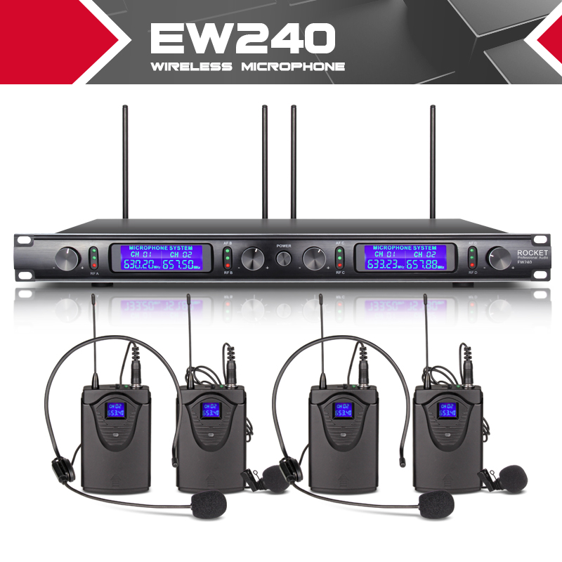 XTUGA EW240 4 Channel Wireless Microphones System UHF Karaoke System Cordless 4 Bodypack Mic For Stage Church Use For Party