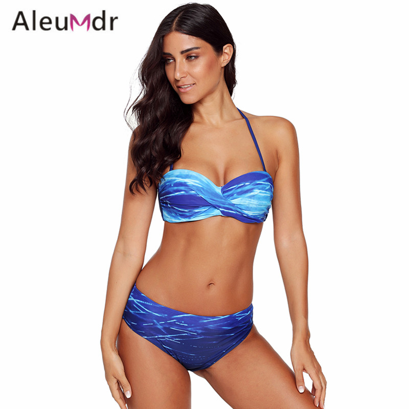 Aleumdr Women Bikini Set Swimwear 2018 Red/Blue Gradient Print Halter Bandeau Bikini Swimsuit Beachwear LC410721 Traje De Bano striped bandeau bikini set