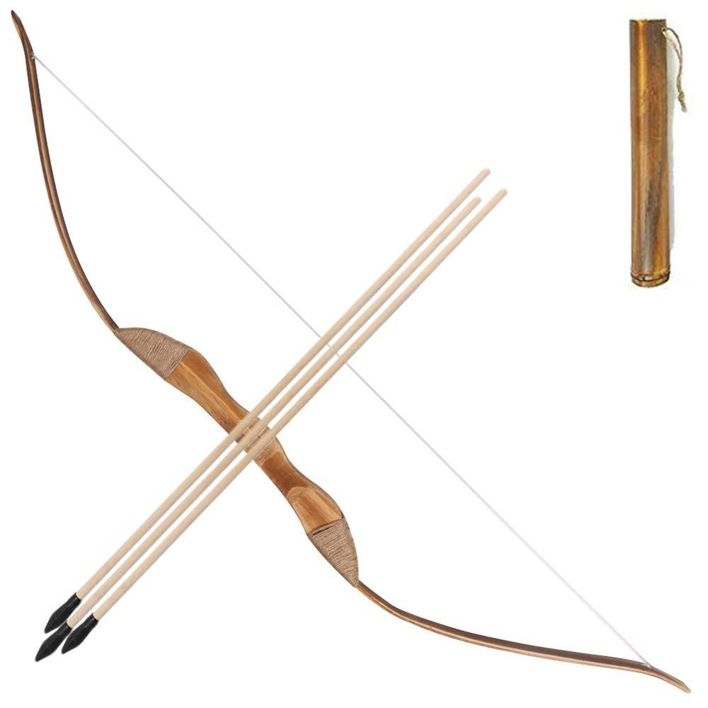 Toparchery Archery Wooden Bow Left Handed 3 Arrows Quiver Rubber Tip Longbow Kids Hunting Toy Set