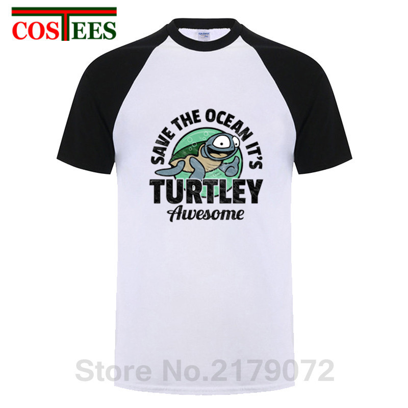 Винтаж сохранить океан это Turtley Awesome футболка для мужчин новинка черепаха sealife футболка homme короткий рукав O средства ухода за кожей Шеи ретр