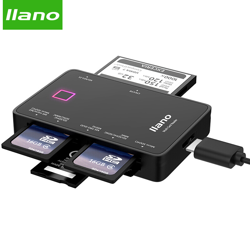 Llano 7 in 1 USB 3.0 Lettore di Smart Card Flash Multi Memory Card Reader per TF/SD/MS /CF 4 Scheda di Lettura SD/micor SD flash card