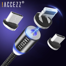 !ACCEZZ Magnetic Type-C Charger Cable For Huawei P30 Samsung Galaxy S10 S9 S8 Redmi Charging Cord For Sony HTC LG Charge Cables