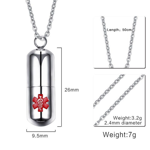 Medical Alert ID Stainless Steel Pendant Pills Box Chokers Necklace  2