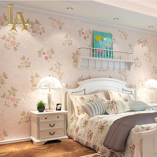 Pastoral Cozy Pink Light Blue D Flower Wallpaper Modern Living - Light pink wallpaper for bedrooms