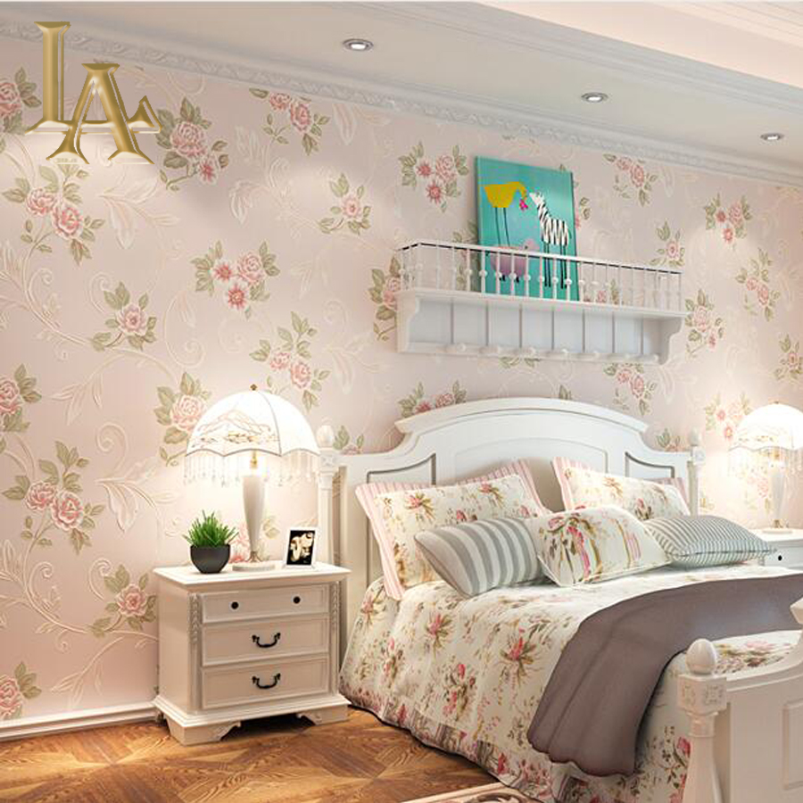 Online get cheap light pink wallpaper for Red flower wallpaper living room