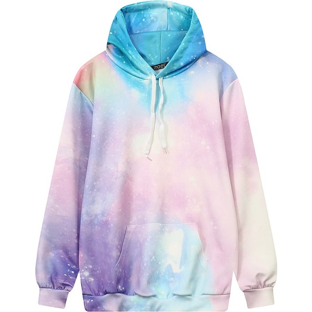 f07cb8480d4 Women Tie Dye Color Hoodie 2017 Winter 3D Printed Sweatshirt Casual Plus  Size Top Pink Loose Galaxy Pattern Oversized Pullover