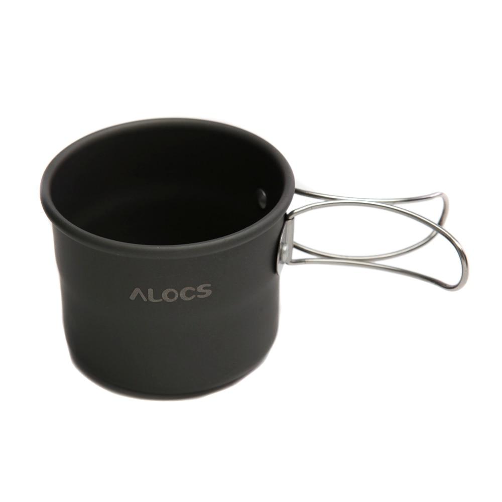 ALOCS Açık Fincan TW-402 Taşınabilir Alüminyum Oksit Açık Kamp Fincan Yürüyüş Piknik için Katlanabilir Kolları 150 ml