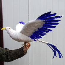 big simulation flying Phoenix toy plastic & furs blue wings long tail bird gift about 65cm