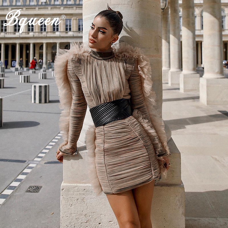Bqueen Fashion Stand Neck Long Butterfly Sleeve Winter Women Bandage Dress Sexy Mini Dress With Sashes