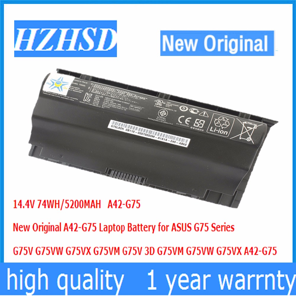 14.4V 74WH/5200MAH New Original A42-G75 Laptop Battery for ASUS G75 G75V G75VW G75VX G75VM G75V 3D G75VM G75VW G75VX