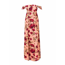 NiceMix Women Summer Beach Wear Slash Neck Floor-length Empire Dress Red Rose Printed Off Shoulder Sexy American Style Long Dres