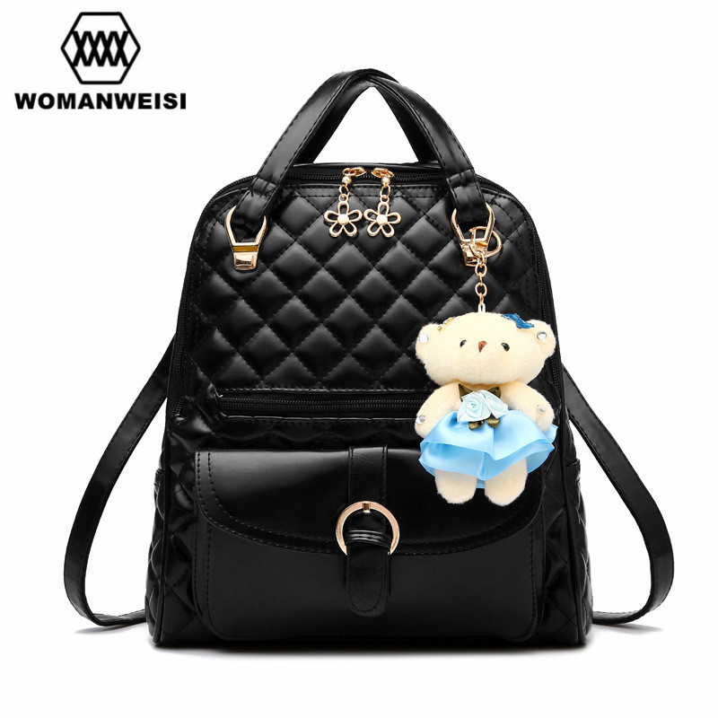 Beautiful Cute Bear Toy Decoration Female Leather Backpack ...