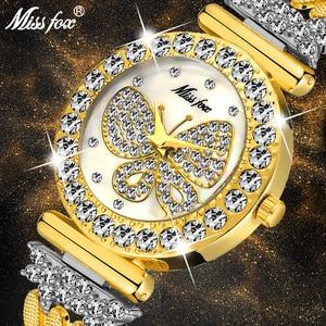 Image 1 - MISSFOX Kelebek Kadın Saatler Lüks Marka Büyük Elmas 18 K Altın Izle Su Geçirmez Özel Bilezik Pahalı Bayanlar kol saati