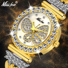 MISSFOX motyl kobiet zegarki luksusowe marka duży diament 18 K złoty zegarek wodoodporny specjalne bransoletki drogie panie zegarek na rękę tanie tanio QUARTZ Przycisk ukryte zapięcie STAINLESS STEEL 3Bar Moda casual 20mm ROUND Odporny na wstrząsy Odporne na wodę Hardlex