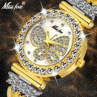 MissFox Бабочка часы Женские люксовый бренд большой алмаз 18 К золотые часы водонепроницаемый специальный браслет дорогие женские наручные час
