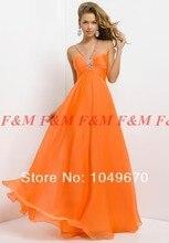 2016 neue Mode Sexy Billig V-ausschnitt Pailletten Perlen Chiffon Reich Backless Orange Abendkleider Prom Party F & M781
